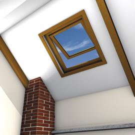Square wood-framed skylight